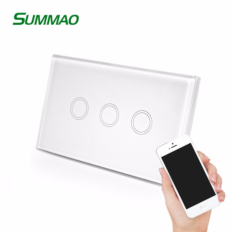 Tempered Glass Capacitive Smart Home <strong>Z</strong> Wave Wall Touch Screen Switch, 3 Gang Wifi Light Switch