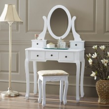 Solid Wood Hotel French Makeup Bedroom White Mirrored Dresser