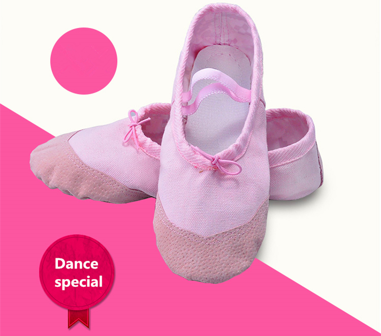 New Girls Ballet Slippers Shoes Children Canvas Dance Shoes 4color