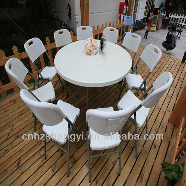 6ft white plastic outdoor round folding tables (SY-183ZY)