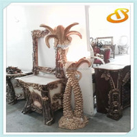 carving flower resin floor lamp
