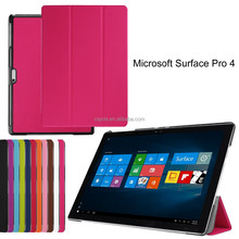 new innovative product leather case cover for microsoft surface 4 tablet case book style three folio back standing case