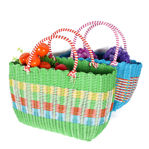 Wholesale Colorful Rectangular Rattan Woven Plastic Shopping Vegetable Basket With Handles