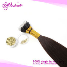 Double Drawn Brazilian Keratin Hair Extensions Nano Ring Hair