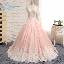 Lace Appliques Button Pink Long Sleeve Wedding Dress