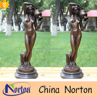 Life size self made man nude woman bronze sculpture NTBH-S958A