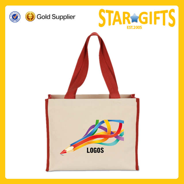 Custom cheap logo printing large side gussets canvas shopping bags