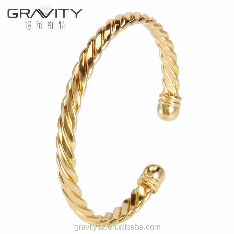 SHZH-103 Gravity jewelry wholesale custom fashion thin plating gold jewellery dubai bangle