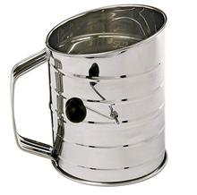 High quality Baking Stainless Steel Shaker Sieve Cup Flour Sifter with Measuring <strong>Scale</strong> Mark for Flour Icing Sugar