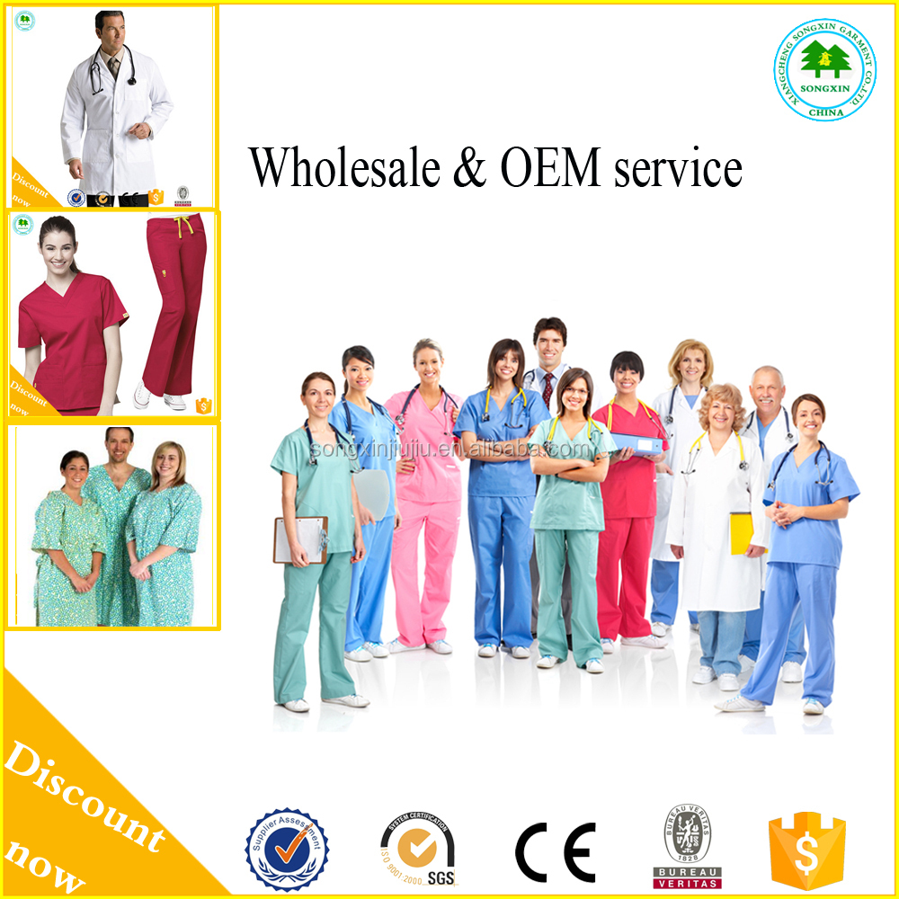 2015 Henan manufacture fashion nurse uniforms/100cotton blue medical scrubs design /hospital scrubs uniform