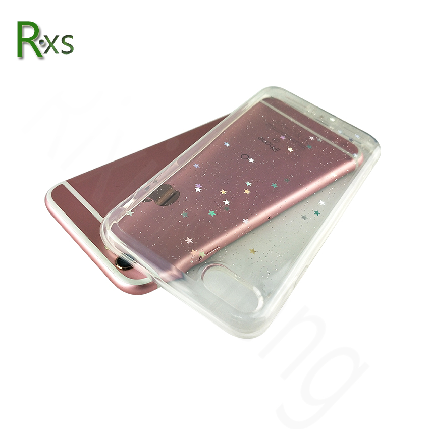 Bling Glitter Transparent Soft TPU Phone Case For iPhone 6 6S 7 8 Plus Sparkling Stars Shinning Clear Phone Back Case
