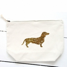 cool cosmetic bag glitter glod Dachshund dog custom printed organic cotton makeup bag