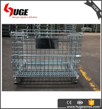 Collapsible Folding Stacking Galvanized Wire Mesh Rolling Pallets Cage