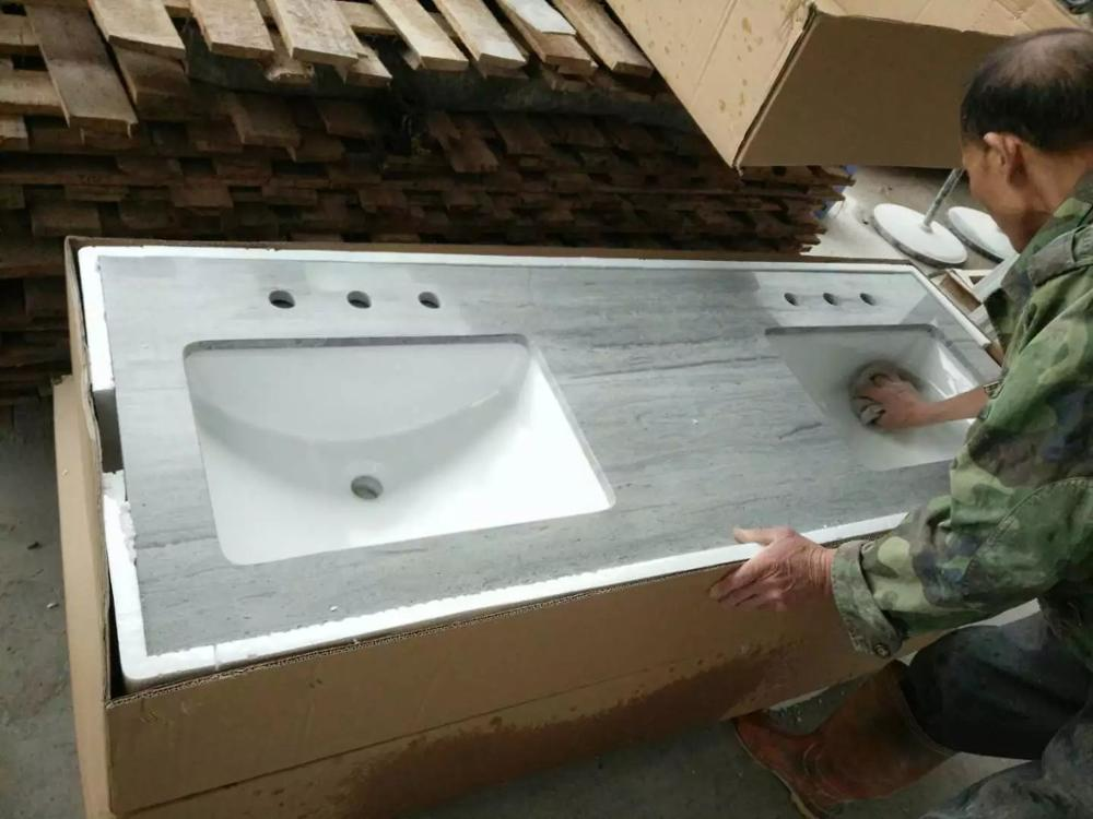 Marble bathroom vanity top with ceramic basin Marble stone washing table top