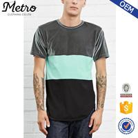 Fashion Style High Quality Colorblock Crew Neck Men Velour T shirts