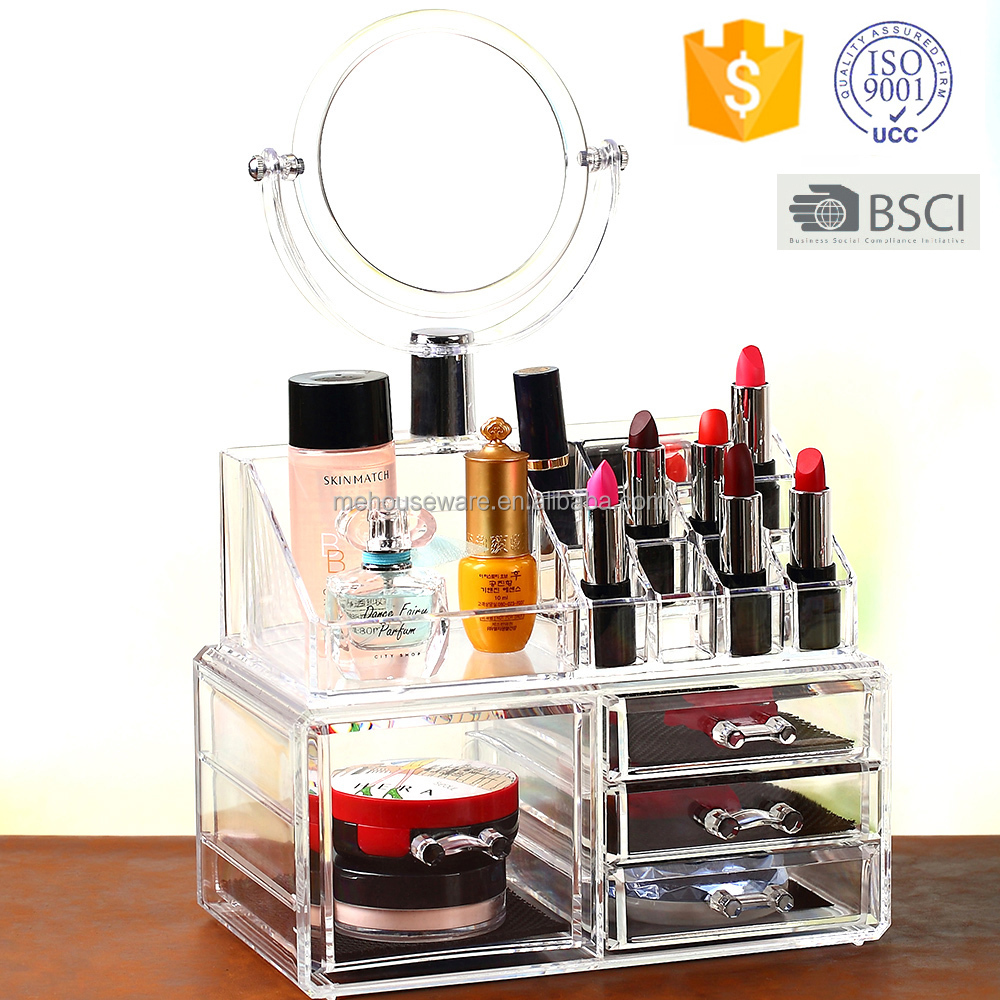 Luxury Acrylic Cosmetic Make Up Organizer -Two Sided Mirror, Great for Organizing Lipstick Nail Polish and Makeup