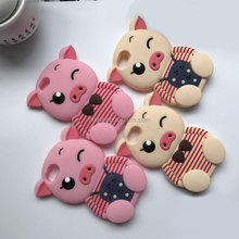 Lovely 3D Soft cartoon Wink Pig Cute Silicone Phone Case For iPhone 8 Cute Animal Rubber Cover