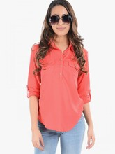 Ladies casual wear fashion linen cotton long shirts red
