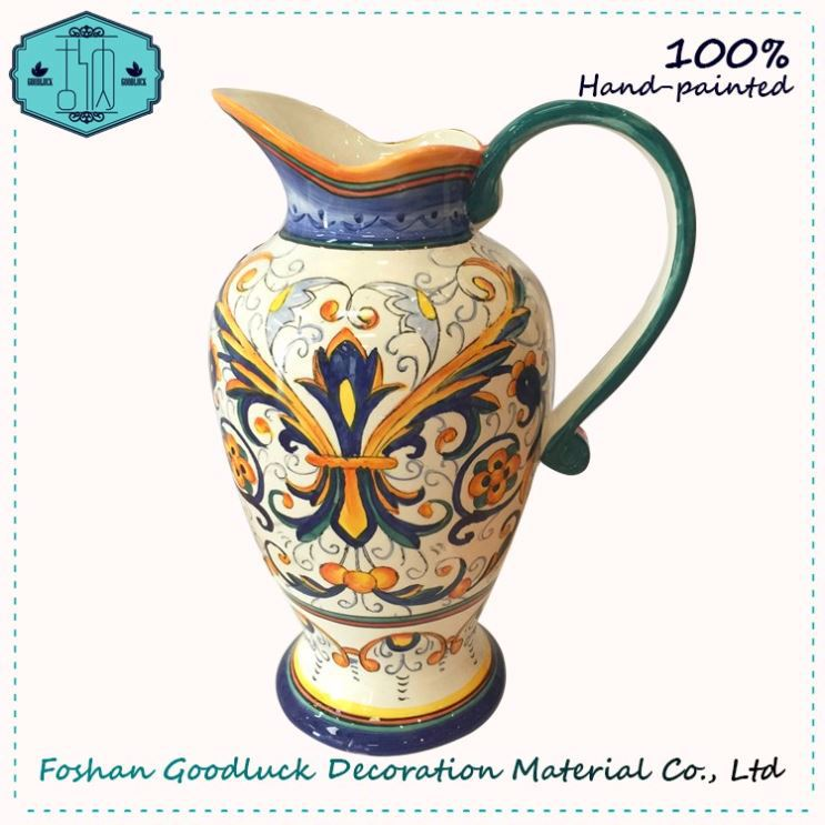 Wholesale Hand Draw Nice Art Decorative Tall Vase With Flowers