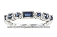 14k White Gold Blue Sapphire broad Band Ring moroccan unique wedding ring