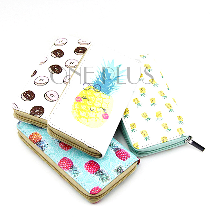 Wholesale High Quality Custom Fruit Style Zipper Purse Pineapple Strawberry Print PU Wallet For Promotional Gift