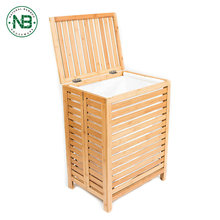 Wholesale antique bamboo wooden folding laundry basket with removable bag