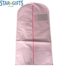 Pink Zipper Lock 80g GSM Nonwoven Suit Cover Dress Garment Bags With Inner Pocket