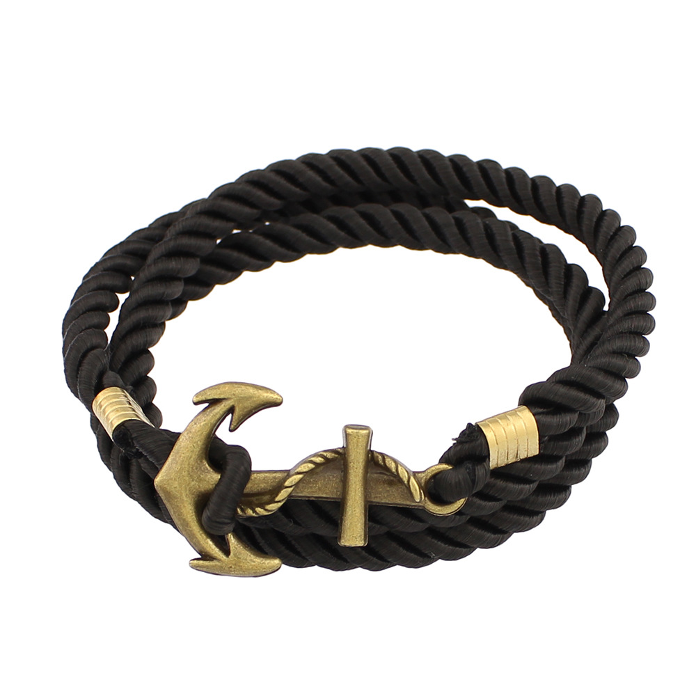 Europe style punk rock carving <strong>grain</strong> restoring ancient ways Multilayer twining anchor bracelet
