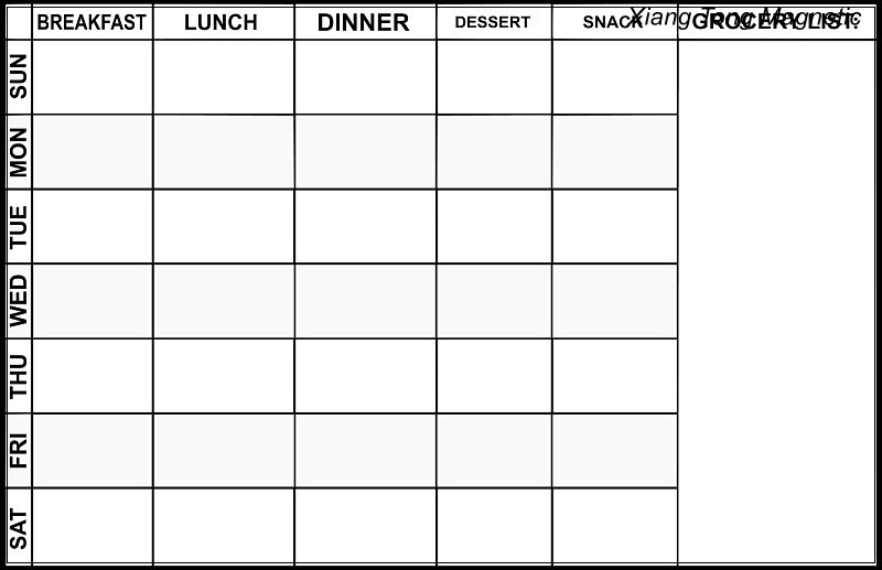 17 x 11 refrigerator message board for a Week of healthy meal planning and a section for a grocery list Magnetic Meal Planner