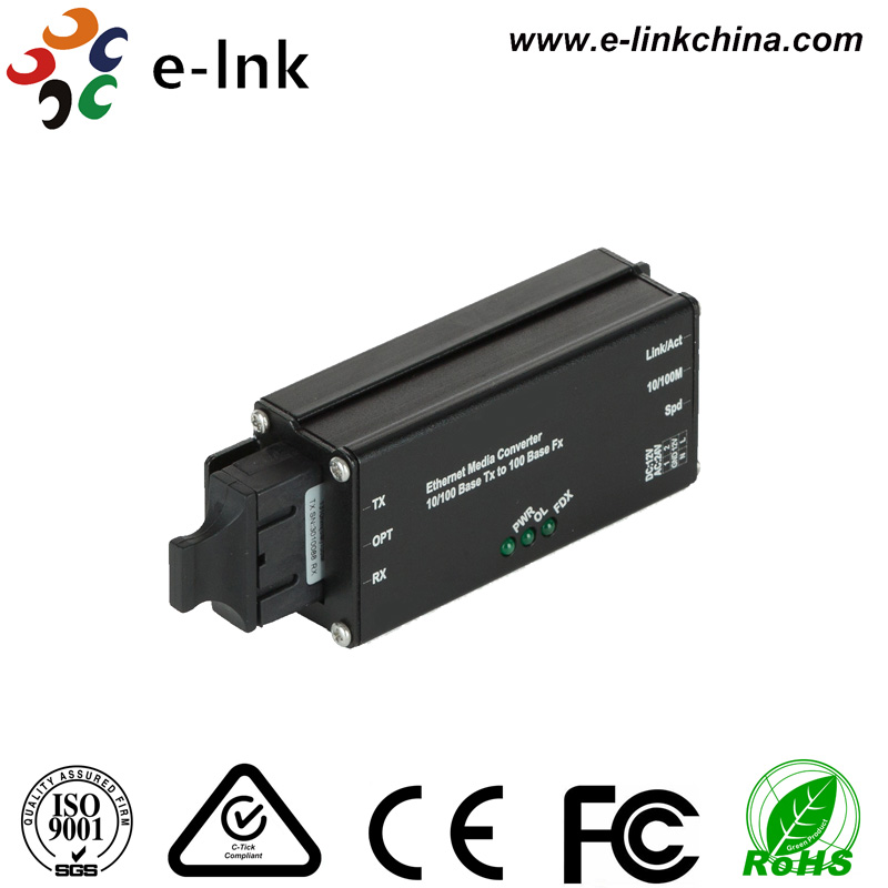Small Size Industrial 10/100M Single-mode WDM Media Converter