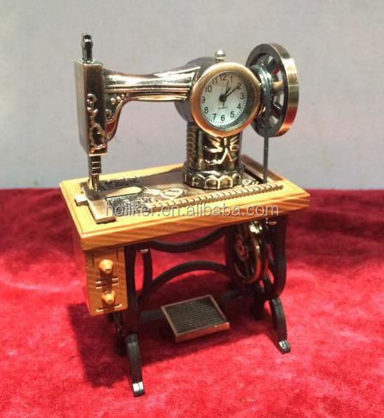 special shape sewing machine table antique metal clock