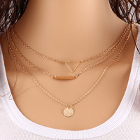 Thin Gold Chain / Dainty Set of Layered Necklaces with Bar, Triangle, Disc