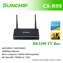 Hot sales ! CX-R99 rk3399 Android 6.0 Rockchip RK3399 Quad Core Tv cable box 64 Bit 4GB 32GB cable tv set top box, dual band wi