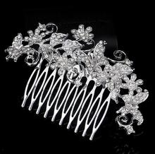 Wholesale crystal women wedding hair combs hair piece crown with good qualiy