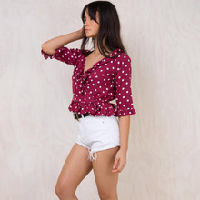 2018 Summer Women Clothes European Fashion Sexy Deep V Neck Ladies Long Sleeve Blouses