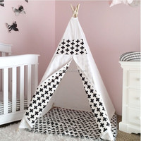 Factory sale wooden pole canvas children kids play indian teepee tent