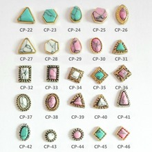 2017 New Japanese manicures natural metal alloy turquoise nail art jewelry accessories