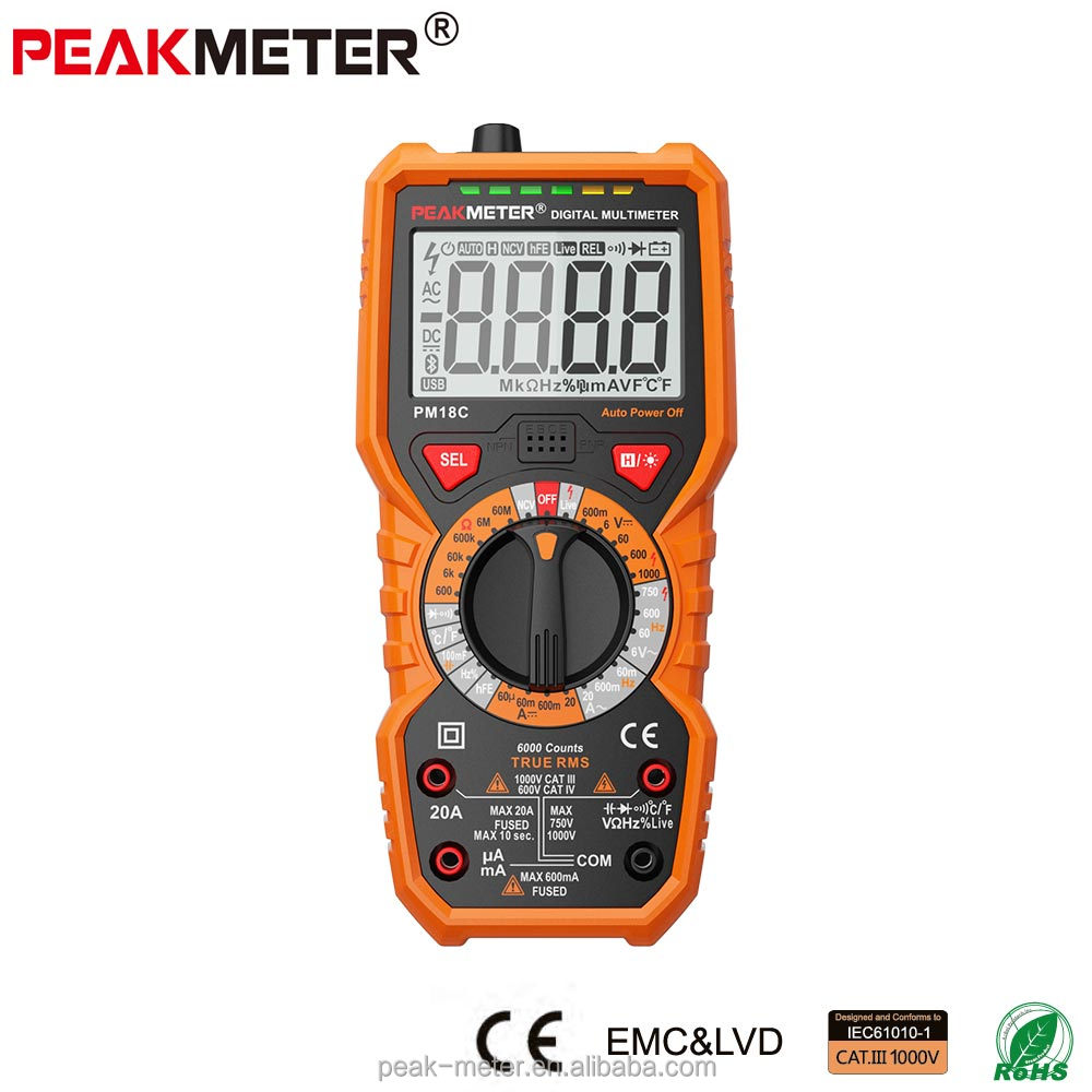 2017 low price best sale Peakmeter LCD Digital Multimeter PM18C with temperature test