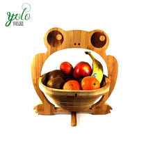 Foldable Frog Animal Shape Bamboo Wood Fruit Basket