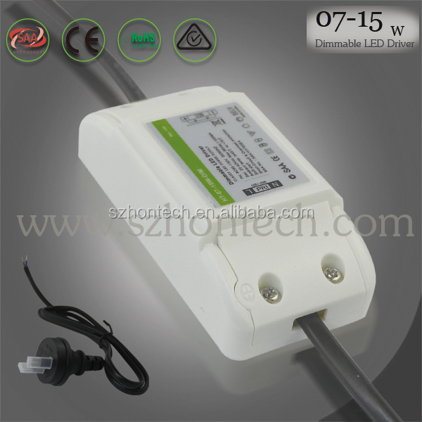 Hontech-wins 7w 8w 9w 10w 11w 12w 13w 14w 15w SAA qualified high quality Dimmable LED Driver/Power supply with PWM