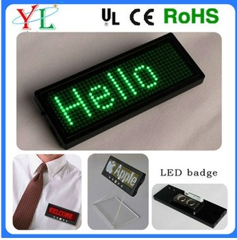 digital programmable message/text scrolling led name badge