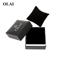 Wholesale cheap custom logo black cardboard paper watch gift packing box with pillow