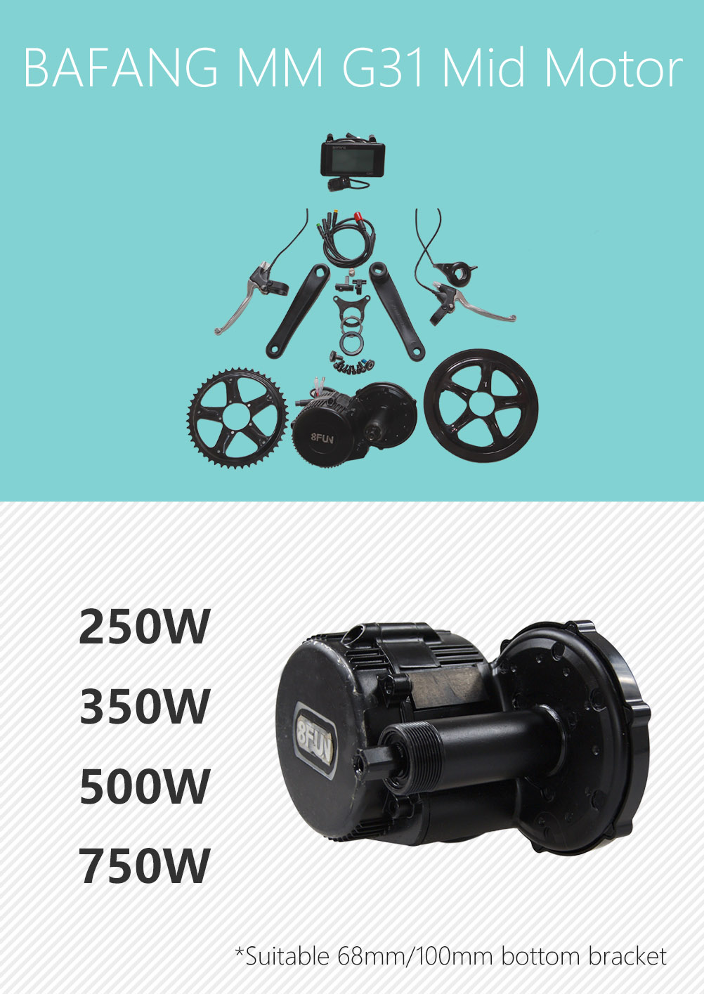 electric crank motor bbs01 mid drive motor ebike kit with LCD display