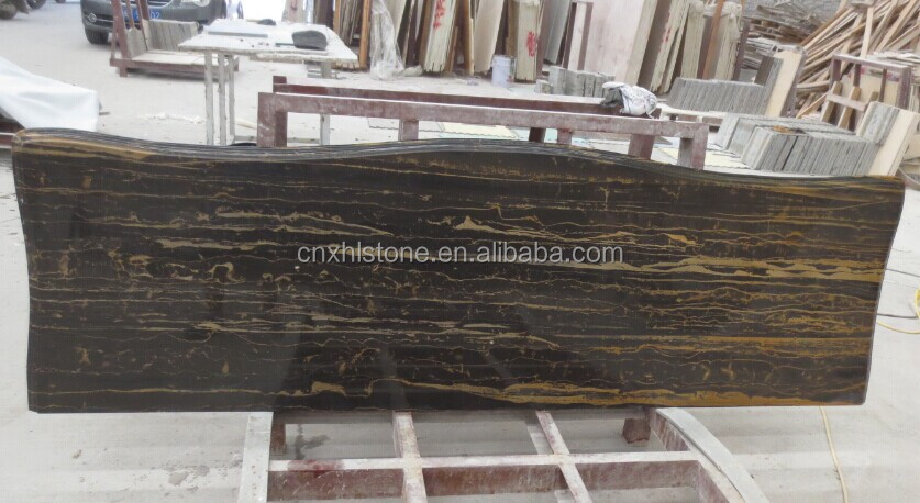Chinese black portoro marble home bar counter design Countertop table top