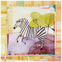 Nice high quality handmade cartoon animal art painting of zebra with frame for sale