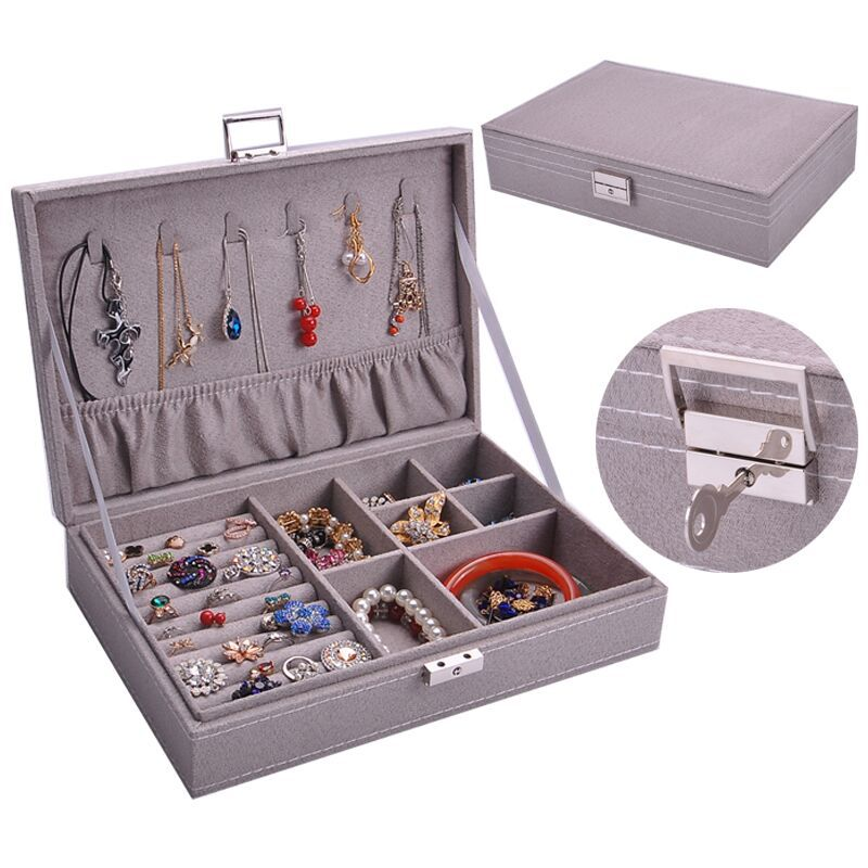 New Product 2019 Custom Made Leather Earring Storage Jewelry Case With Necklace Hooks and Ring Holders