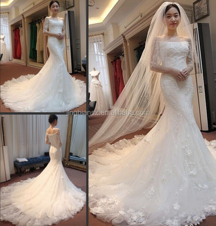 2015 real sample china factory price suzhou bridal mermaid boat neck lace wedding gown #OW504
