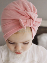 Hot Sale 100% Cotton Baby Fabric Set Head Hat Hair Accessories Big Bow Knot Solid Color Headbands