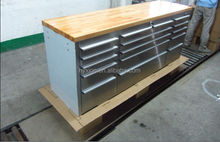 Stainless steel tool box with 4 wheels