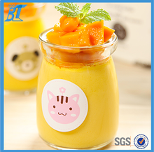 100ml 200ml wide mouth glass pudding jar/heat resist milk yogurt glass jar with cap